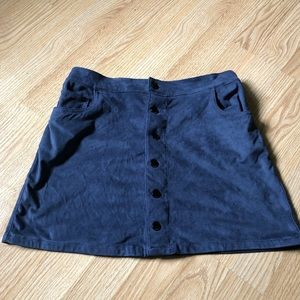 Blue suede mini skirt